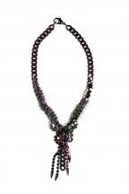 Gem Stone V Shape Gunmetal Necklace